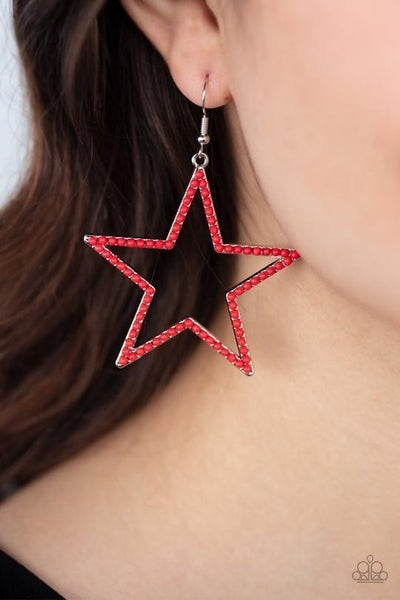 Count Your Stars - Silver Stars encrusted with Red Rhinestones Earrings