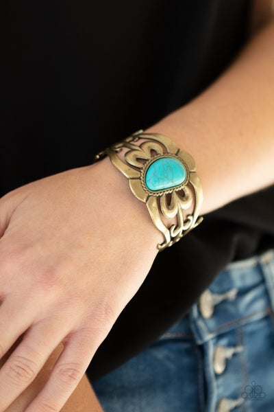 The MESAS are Calling - Filigree Brass with asymmetrical Turquoise Cuff Bracelet