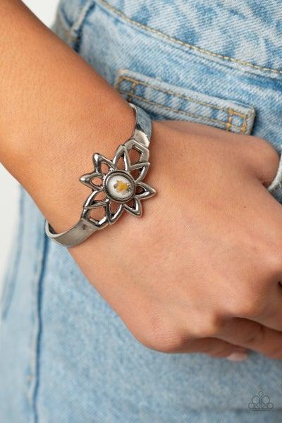 Sahara Garden - Silver with White Glittery Stone Cuff Bracelet