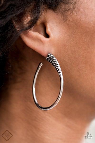 Fully Loaded - Silver Oblong Hoop Earrings
