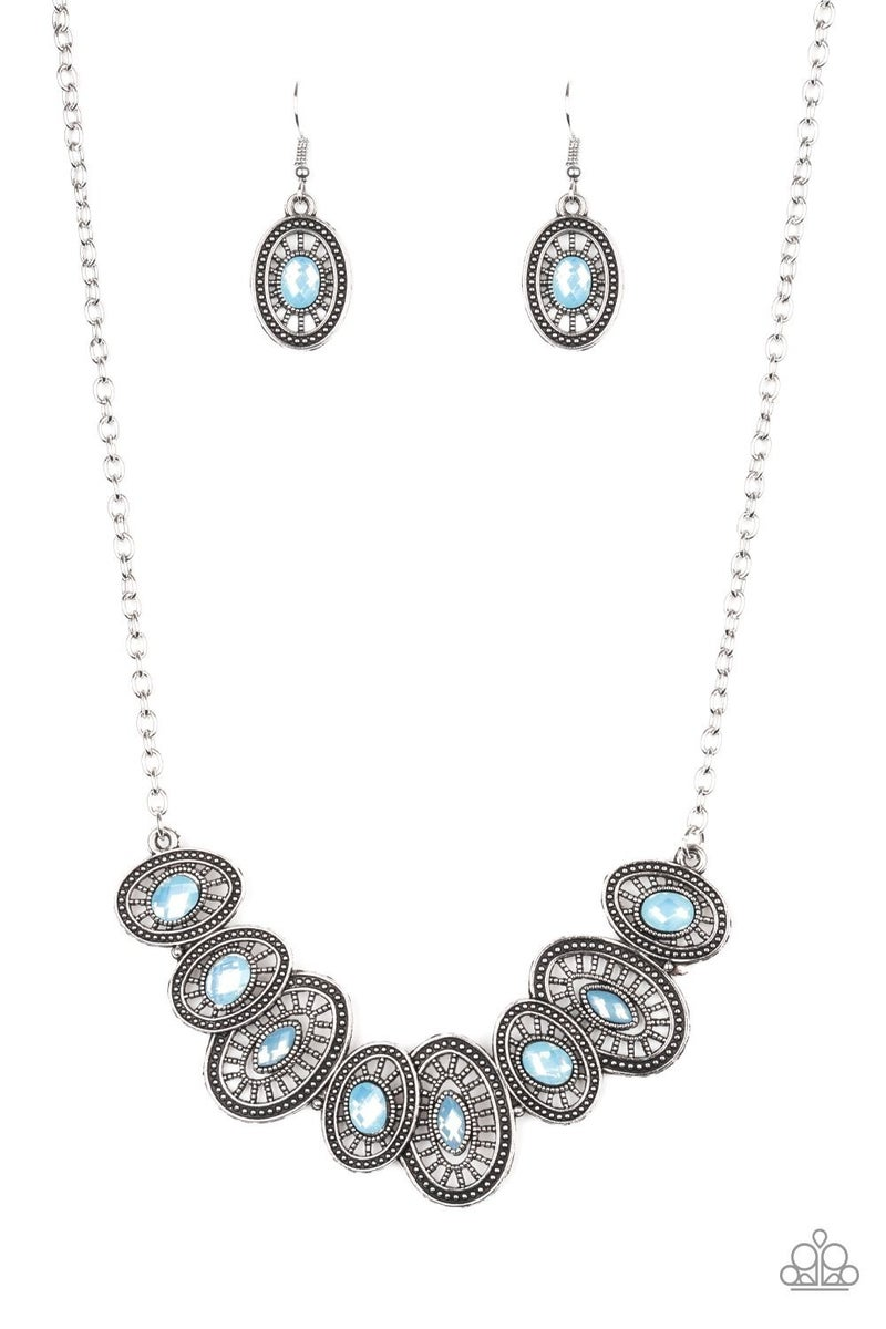 Trinket Trove - Silver with Oval Blue Moonstones Necklace