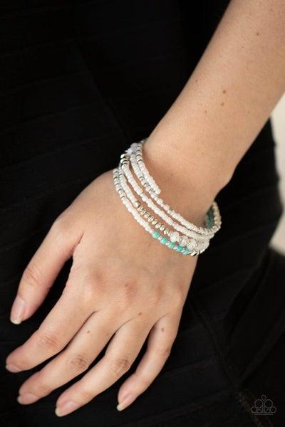 Infinitely Dreamy - Iridescent White Seed Beads, Turquoise & Acrylic Beaded Coil Bracelet