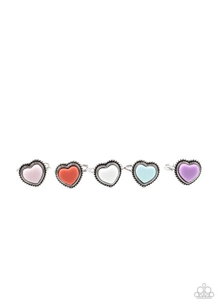 Colorful Heart Kids Rings