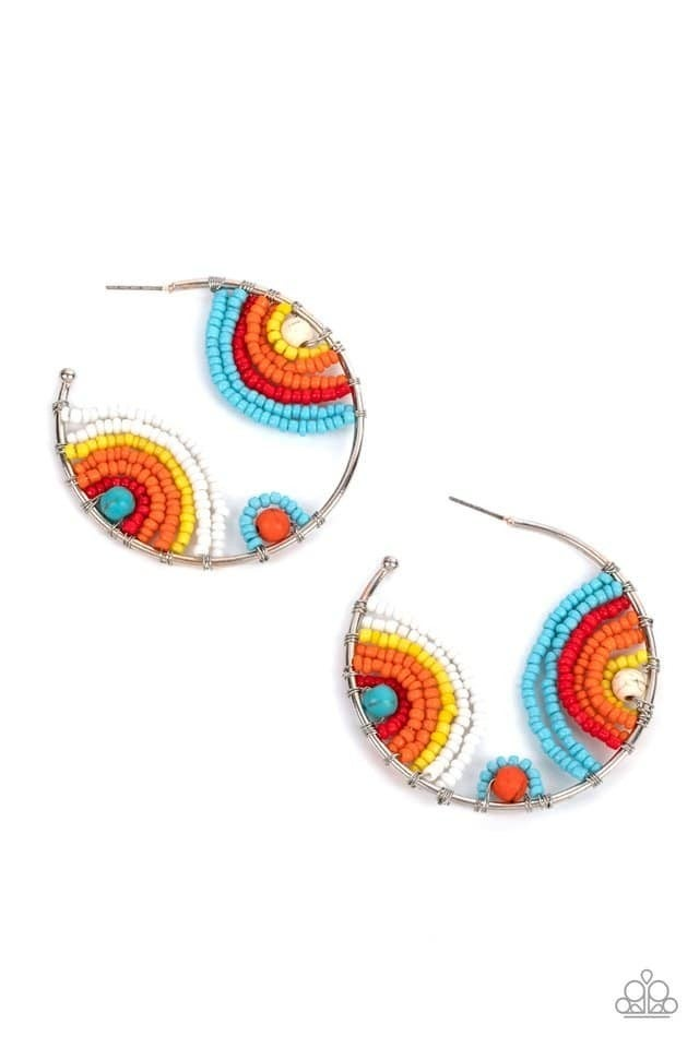 Rainbow Horizons - Multicolored Seed Bead Hoop Earrings - July 2020 Life of the Party Exclusive