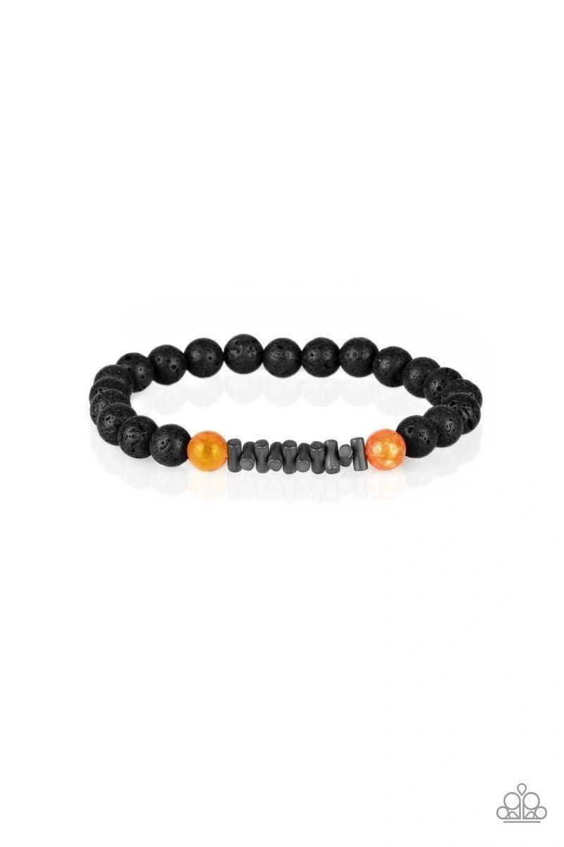 Courage - Black Lava Bead with Orange Moonstone Beads Bracelet
