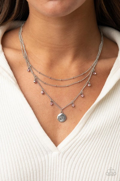 """Pre-Sale Ode To Mom - Silver with a """"Mom"""" charm & Pink rhinestones layered Necklace & Earrings"""