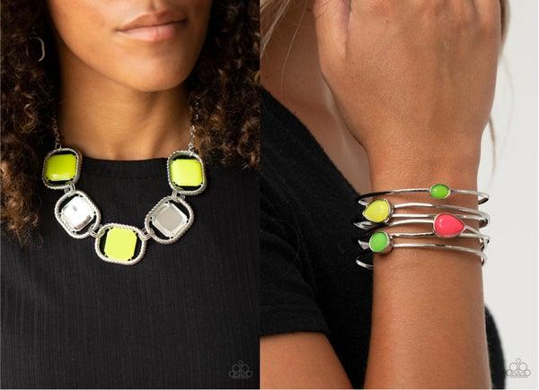 Pucker Up & Fashion Frenzy - Necklace, Earrings & Cuff Bracelet Set