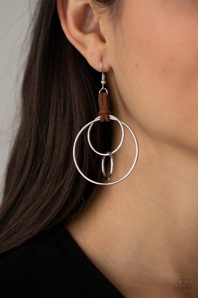 Fearless Fusion - Silver Hoops with Brown Suede Earrings