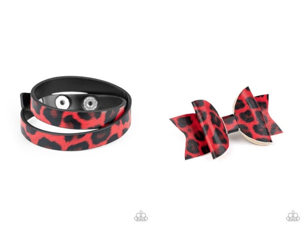Hooked On A FELINE and All GRRirl - Red Leather Cheetah Print Set