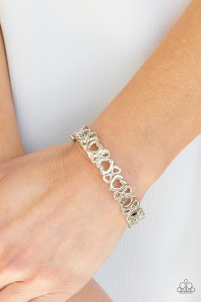 You HEART The Lady! - Silver Heart-Shaped Hinged Cuff Bracelet