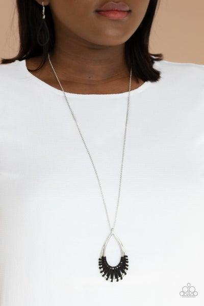 Homespun Artifact - Silver Teardrop wrapped in Black Suede Necklace & Earrings