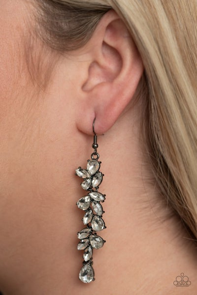 Pre-Sale - Unlimited Luster - Gunmetal with White Rhinestone drops Earrings
