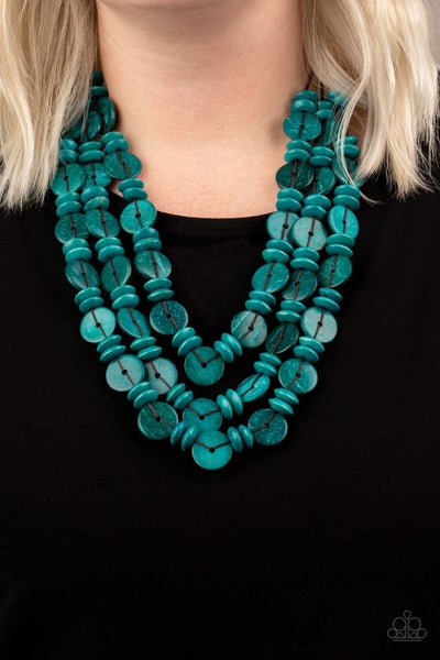Pre-Sale Barbados Bopper - Layers of Blue Wood Beads Necklace & Earrings