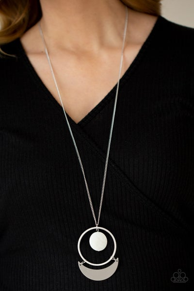 Moonlight Sailing - Silver with White shell-like disc centered in a Hoop with a crescent moon Necklace & Earrings