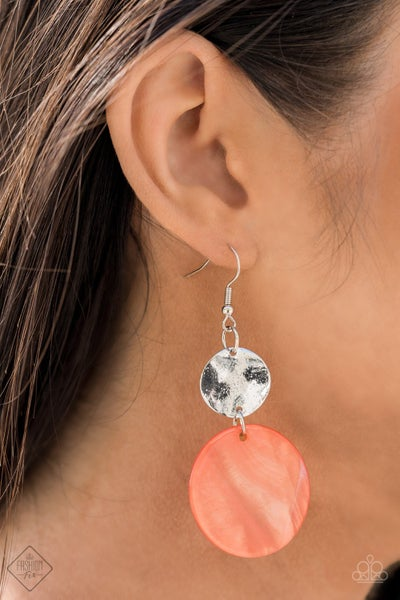 Opulently Oasis - Silver with an Orange/Burnt Coral disc Earrings