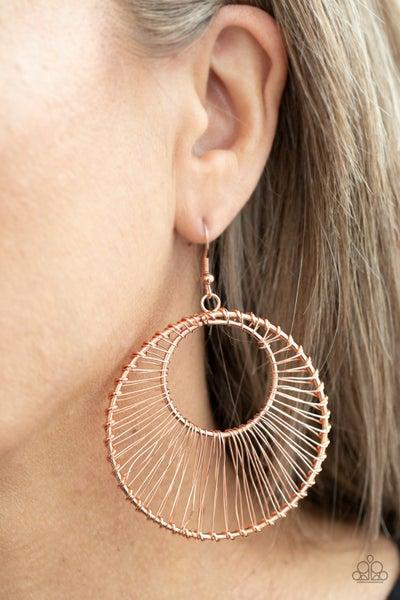 Artisan Applique - Copper Wire wrapped Hoop Earrings