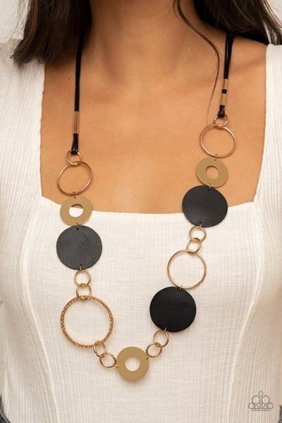 Sooner or LEATHER - Gold with Black Leather circles Necklace & Earrings