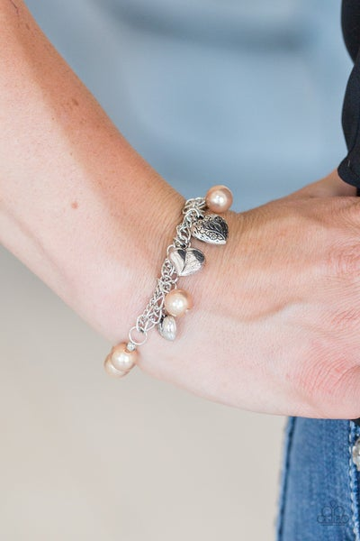 Pre-Sale More Amour - Silver with Brown Pearls, Silver Beads & Silver Heart Charms Stretch Bracelet