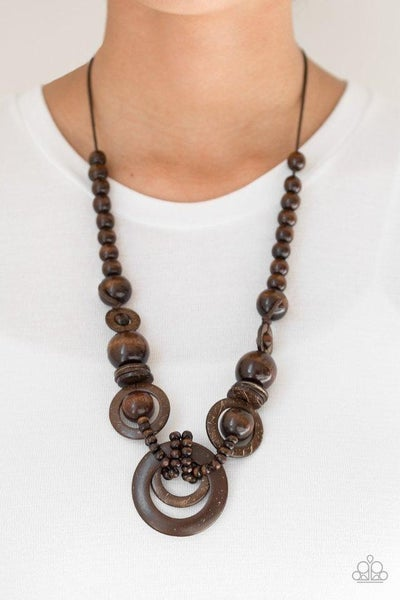 Boardwalk Party - Brown Wooden Bead Necklace with Wooden Hoops Necklace & Earrings