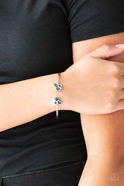 Pre-Order Going For Glitter - Blue & White Rhinestones on Silver Reversed Cuff Bracelet