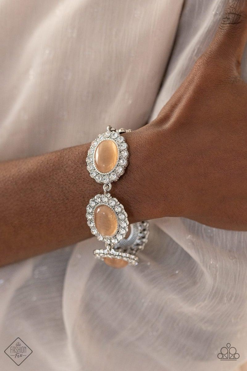 Demurely Diva - Silver with Orange Moonstone & Rhinestones Bracelet