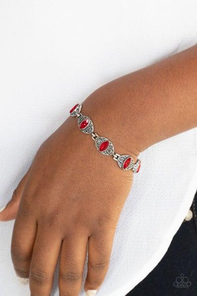 Crown Privilege - Silver floral frames with marquis cut Red Rhinestones Bracelet