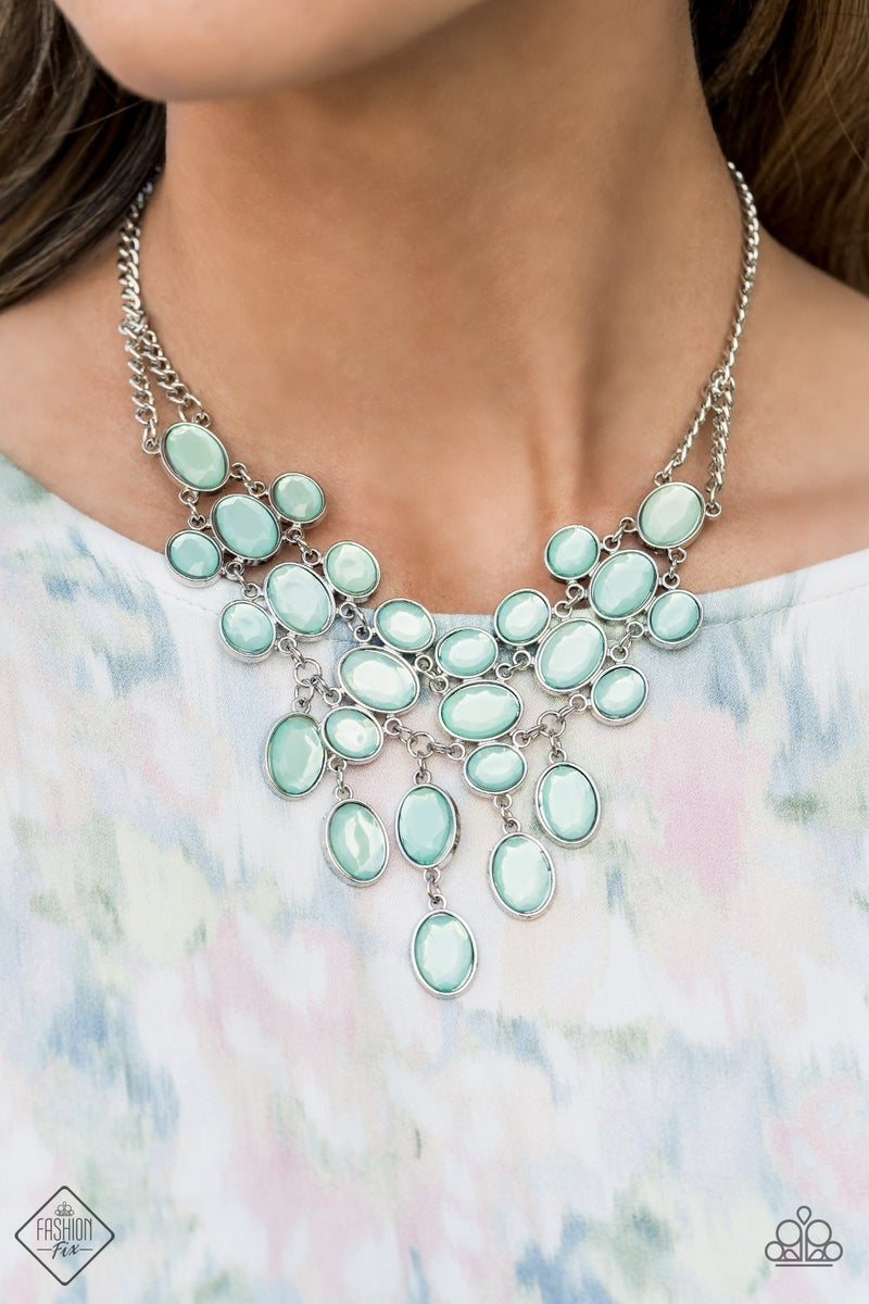 Pre-Order Serene Gleam - Silver with Blue Moonstones Statement Necklace & Earrings