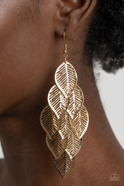 Limitlessly Leafy - Gold Leaf frames cascading down Earrings