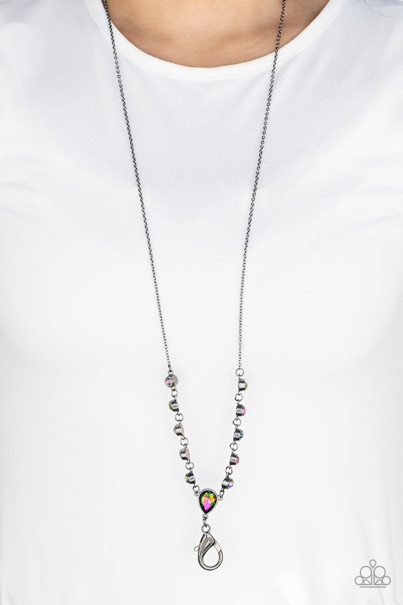 Unfathomable Fierceness - Gunmetal with Oil Spill Lanyard Necklace