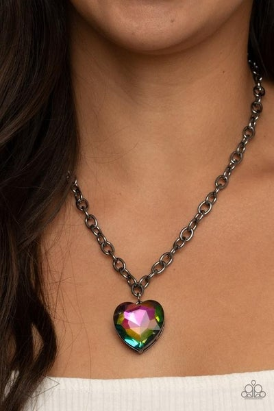 Flirtatiously Flashy - Multi Oil Spill Heart in Gunmetal Frame Necklace & Earrings