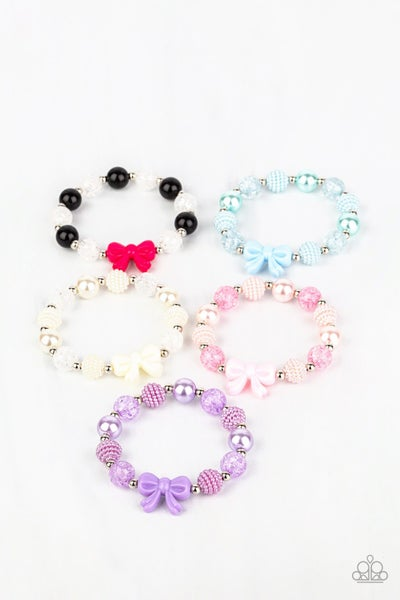 Assorted Color Beads with a Bow Charm Stretch Bracelet for Kids or the Kid at Heart