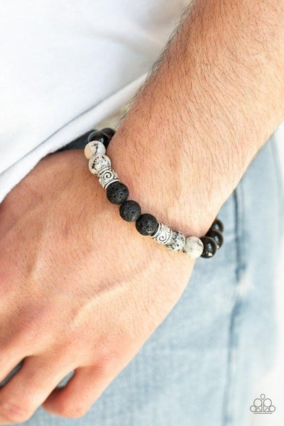 Mantra - Black Shiny Beads, White Marbleized Beads & Lava Stone Beaded Bracelet