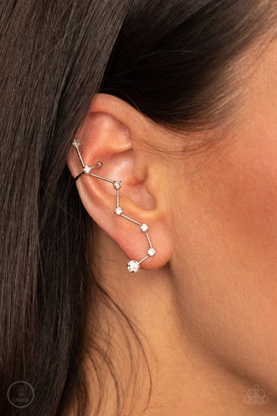 CONSTELLATION Prize - Silver with White Rhinestones Ear Crawler Earrings