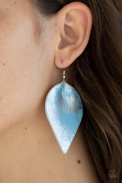 Enchanted Shimmer - Blue Shiny Leather Teardrop Earrings