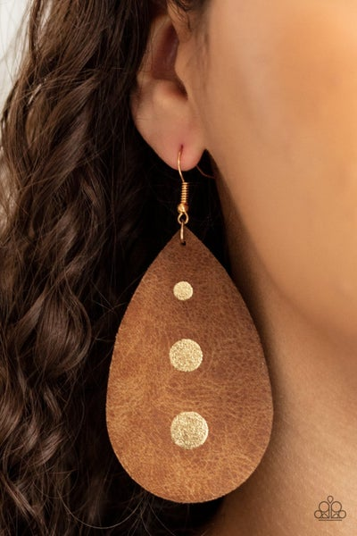 Rustic Torrent - Gold with Brown Teardrop Leather with painted Gold Circles Earrings