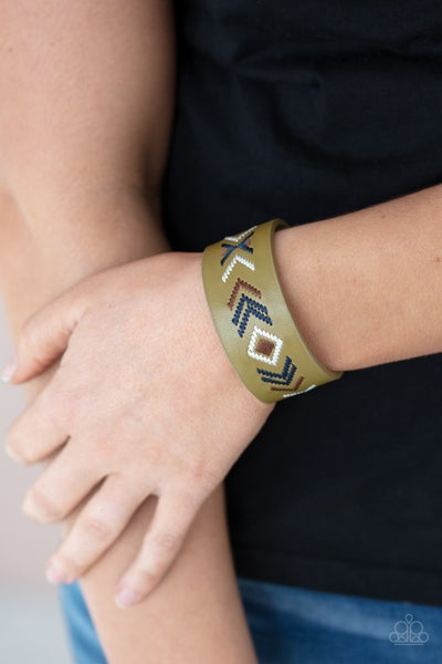Pre-Sale Cliff Glyphs - Tan Leather with Multi-color Tribal Stitching Snap Bracelet