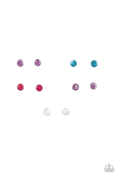 Round Glitter Ball Stud Kids Earrings