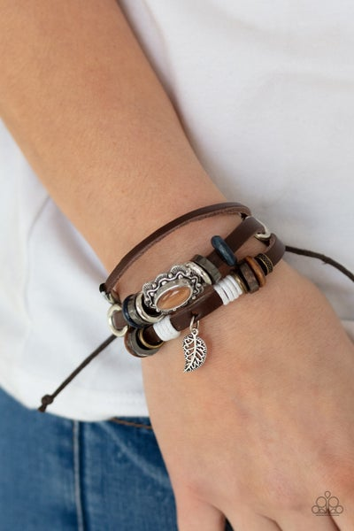 Mystically Mediterranean - Leather Beaded bands with an Orange Moonstone center slip knot/pull-tight Bracelet