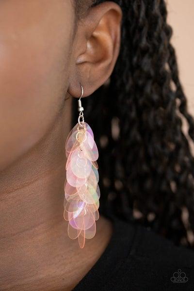 Stellar In Sequins - Oversized Iridescent Pink Sequin Earrings