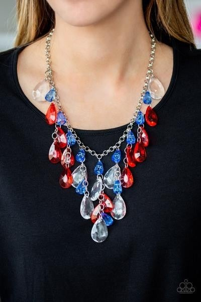 Irresistible Iridescence - Red, White & Blue layered Acrylic Necklace & Earrings