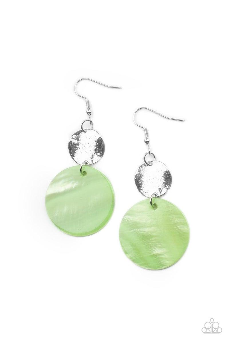 Opulently Oasis - Green shell-like disc & Silver disc Earrings