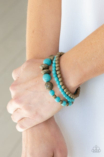 Pre-Sale Desert Blossom - Brass & Turquoise Stretch Bracelets