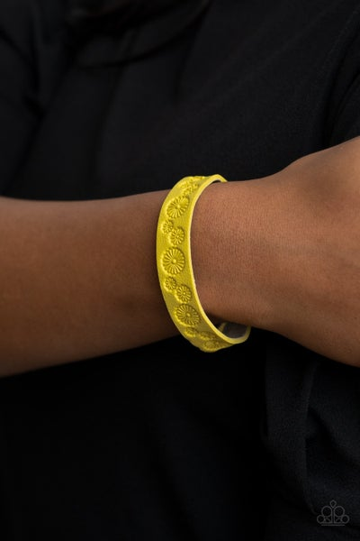 Follow The Wildflowers - Yellow Leather with daisy pattern snap Bracelet