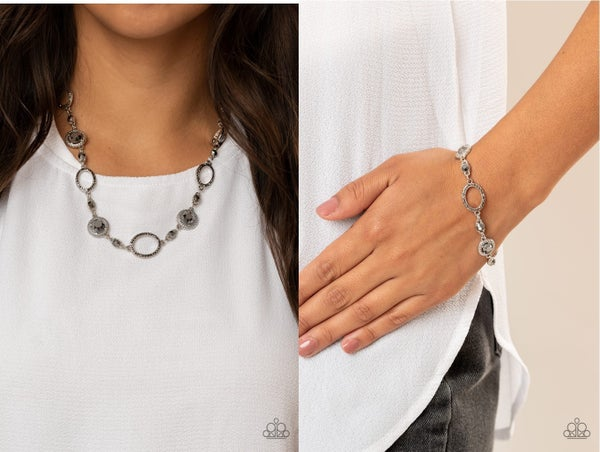Pushing Your LUXE & Wedding Day Demure - Silver & Hematite Necklace, Earring & Bracelet Set