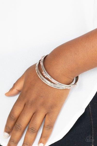 Stackable Sparkle - Pink Rhinestones on 6 Silver Bangle Bracelets