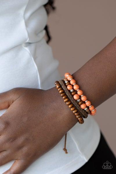 Pre-Sale Renewable Energy - Brown Cordage, Orange Stones & Wood Beads Pull Tight Bracelet