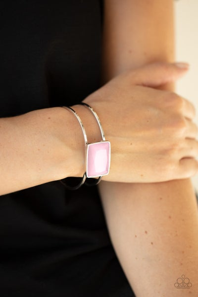 Rehearsal Refinement - Pink Glassy Rectangle Gem centered on a Silver Cuff Bracelet