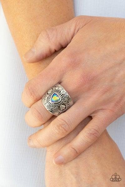 Magic Maker - Silver with Multi Iridescent stone center Ring