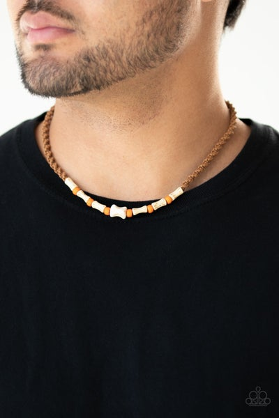 Pre-Order Beach Shark - Orange-Amberglow & Ivory Beads on a Tan Leather Button Loop Necklace (no earings)