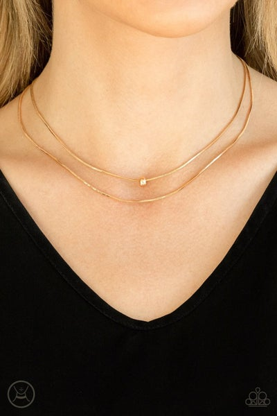 Super Slim - Layered Gold Choker Necklace & Earrings